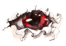 Mystic Eye. Sight of the beast  bursts through the wall Stock Image