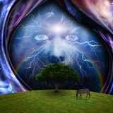 Mystic face, green tree and warped space. Horse grazes in the field. 3D rendering stock illustration