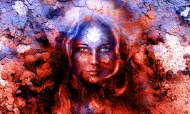 Mystic face women, with structure crackle background effect, with star on forehead, collage. eye contact. Royalty Free Stock Photo