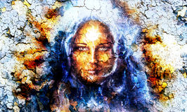 Mystic face women, with structure crackle Stock Photography