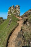 Mystic Fairy Glen, Scotland Highlands. Mystic Fairy Glen, a romantic green valley with strange stone structures on the Isle of Skye, Scotland during spring In royalty free stock photography