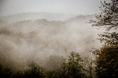 Mystic fog in the mountains stock photography