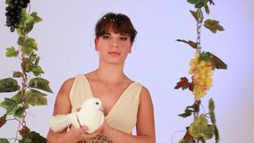 Mystic Girl With A Dove stock video footage