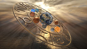Mystic golden zodiac horoscope symbol with twelve planets. 3D rendering. 3D rendering image of a brilliant gold zodiac horoscope sign with the twelve planet Royalty Free Stock Image