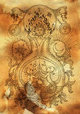 Mystic illustration with spiritual and alchemical symbols, zodiac sign Gemini concept with moon, sun and stars on old paper backgr Stock Photo