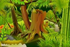Mystic Jungle. Vector illustration of dense trees in mystic jungle vector illustration