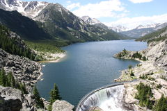 Mystic Lake Dam and Beartooth Mountains. Stock Photos