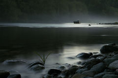 Mystic Lake. In forest with evening light Royalty Free Stock Photos