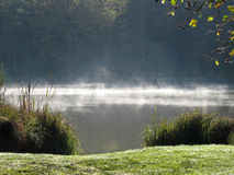 Mystic Lake on a spring morning. A Lake on a spring morning, with a Mystic and bright fog Royalty Free Stock Photos