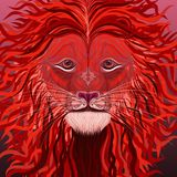 Mystic Lion. With a furry mane royalty free illustration