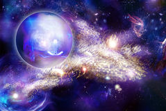 Mystic luminous nebula and planet stock illustration