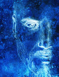 Mystic man. pencil drawing on old paper. Color effect. Mystic man. pencil drawing on old paper. Color effect Stock Photos
