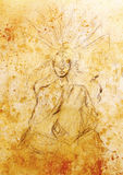 Mystic meditating woman. pencil drawing on old paper. Mystic woman. pencil drawing on old paper Stock Photography