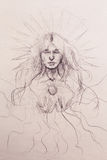 Mystic meditating woman. pencil drawing on old paper. Mystic woman. pencil drawing on old paper Stock Image