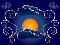 Mystic moon illustration. Illustration of an orange mystic moon with clouds and windy swirls in a night sky Royalty Free Stock Photo