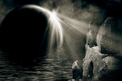 Mystic night landscape Royalty Free Stock Photos