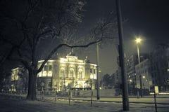 Mystic night wiev of Warsaw Politechnika Royalty Free Stock Photo