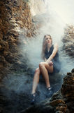 Mystic portrait of young blond woman Royalty Free Stock Photography