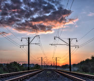Mystic railroad and sunlight Stock Photo