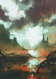 Mystic red swamp at sunset. Fantasy landscape of mystic red swamp at sunset stock illustration