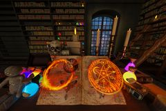 Mystic room or alchemist`s study room with candles, books, bottles and alchemical symbols, with zoom in on the book from the enter vector illustration