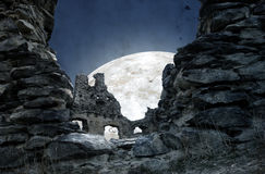 Mystic Ruin. Of Castle In Mountain At Night. Kostomlaty pod Milesovkou in Czech Royalty Free Stock Images
