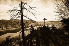 Mystic scenery at ruin hohenwaldeck with scary tree. Mystic scenery at historic ruin hohenwaldeck, schliersee with scary tree, sepia toned Royalty Free Stock Images