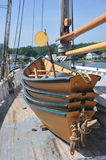 Mystic Seaport dingy. On large schooner Royalty Free Stock Photography