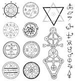 Mystic set with magic circles, pentagram and symbols. Collection of sketch doodle emblems with mystic and occult hand drawn symbols. Halloween and esoteric Royalty Free Stock Photo
