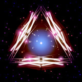 Mystic shiny triangle with sparkles Stock Image