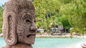 Mystic Skulptur on Haad Salat Beach in Koh Pangan. Hill with Coconut Palms in Background. Thailand. Mystic Skulptur on Haad Salat Beach in Koh Pangan. Hill with Stock Photos