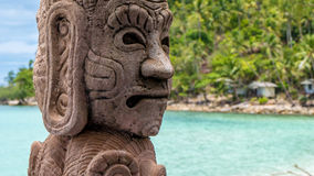 Mystic Skulptur on Haad Salat Beach in Koh Pangan. Hill with Coconut Palms in Background. Thailand. Mystic Skulptur on Haad Salat Beach in Koh Pangan. Hill with Royalty Free Stock Photos