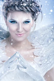 Mystic snow queen. With malicious smiling Royalty Free Stock Photos