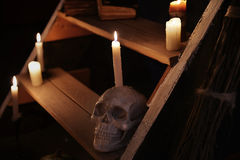 Mystic still life with skull and candles on wooden staircase. Occult or esoteric ritual with magic objects, scary Halloween background royalty free stock image