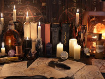 Free Mystic Still Life With Magic Objects, Books And Candles Stock Photo - 74116150