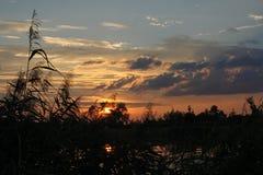 Mystic sunset over lake Royalty Free Stock Photo