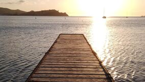 Mystic sunset wooden jetty