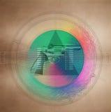 Mystic symbol with gun in pyramid Stock Images