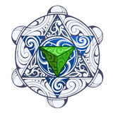 Mystic symbol with pattern. Mystic symbol with elegant ornament inside. Can be used as tattoo or sticker Stock Photo