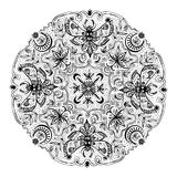 Mystic Symbols Black And White Mandala Royalty Free Stock Images