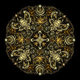 Mystic Symbols Golden Mandala Royalty Free Stock Photos