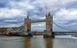 Mystic Tower Bridge in London on a cloudy evening Royalty Free Stock Images