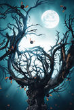 Mystic tree with moon and bats Royalty Free Stock Image