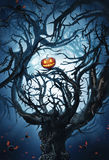 Mystic tree with thorns and pumpkin with bats Royalty Free Stock Image