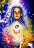 Mystic woman and earth collage. Hands holding planet Earth. Woman illustration. Stock Photography