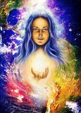 Mystic woman and earth collage. Woman illustration Royalty Free Stock Image