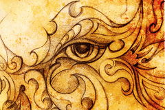 Mystic woman eye with floral ornament. Drawing on paper, Color effect. Eye contact. Royalty Free Stock Photo