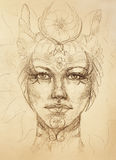 Mystic woman face with floral ornament. Drawing on paper, Color effect. Eye contact. Stock Photography