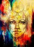 Mystic woman face with floral ornament. Drawing on paper, Color effect. Eye contact. Stock Images