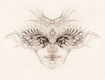 Mystic woman face with floral ornament. Drawing on paper, Eye contact. Royalty Free Stock Images